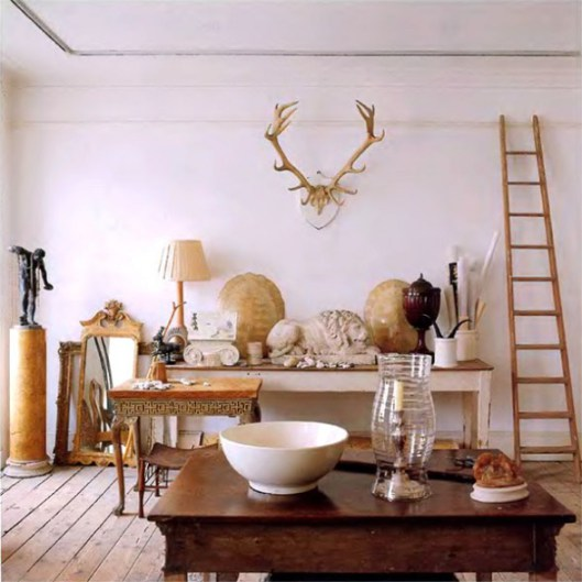 ... Eclectic Gray Greige Antler Decor White Home Decorating  ...